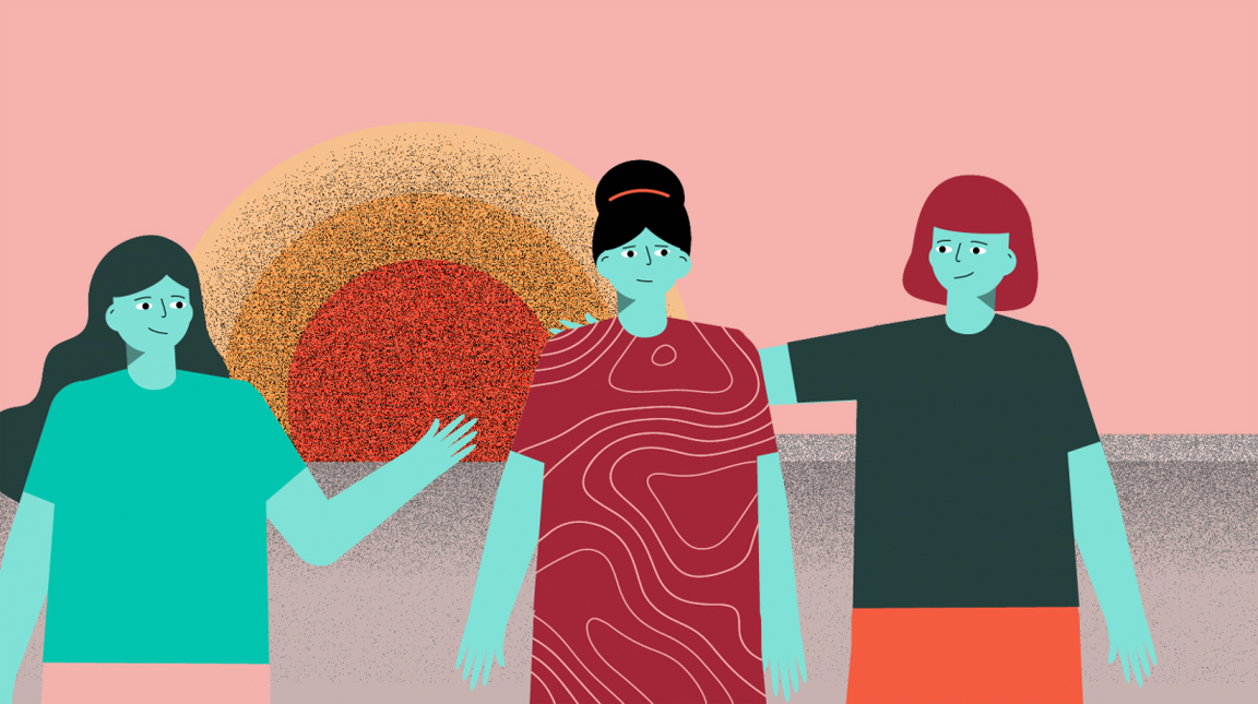 illustrated women supporting each other on pink background