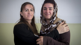 Sheiran, 32 (left) and Kabira, 38 (right) are sisters both originally from Afrin (Rojava, Syria). Sheiran fled Afrin in Dec 2012 and Kabira came 8 months after. They both now live in sheltered accommodation in Mamwaza and regularly attend the trainings.