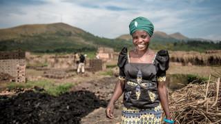 Cinama, a Women for Women International programme graduate from the DRC. Photo: Ryan Carter