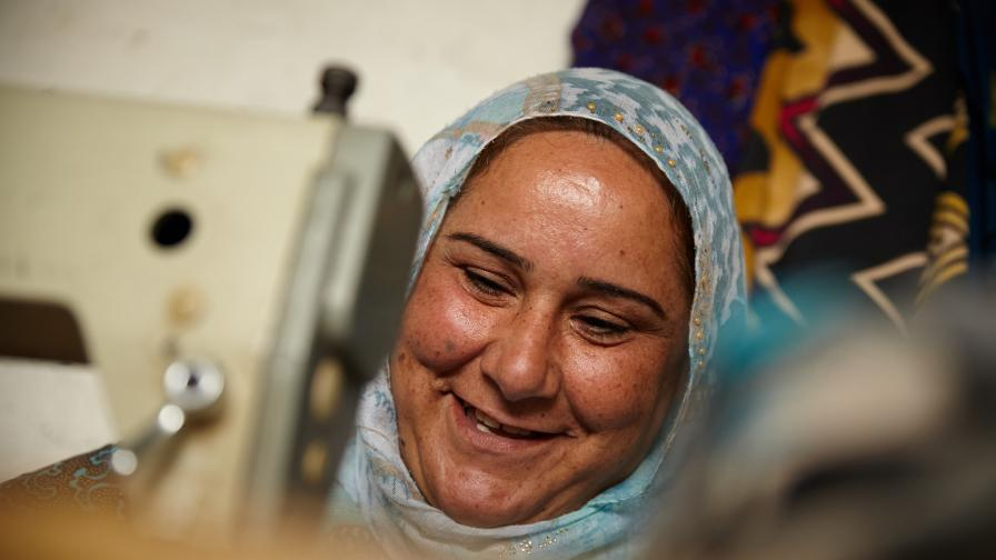 Shireen is a Syrian refugee living in Erbil, Iraq, with her 7 children and her husband. She is a talented tailor and she would like to start a sewing business in her home. Photo: Aidan O'Neill