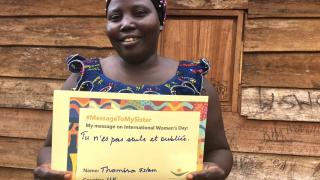 """Cizungo from DRC with her translated #MessageToMySister: """"You are not alone and forgotten."""" Photo: Women for Women International"""