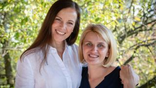 Amela and Brita meeting together at Amela's house in Doboj in Bosnia and Herzegovina. Amela and Brita first became friends in 2009 writing letters to each other through the Women for Women International programme. Photo: Hazel Thompson