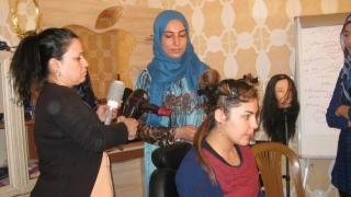 Hairdressing class/demonstration at Warvin