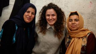 Economic Empowerment Manager in Iraq, Shan (middle) with programme participants. Photo: Aidan O