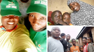 Clockwise from left: Grace and Hadiza at the radio station, Hadiza at home with her sons, Grace with her family. Photos: Women for Women International