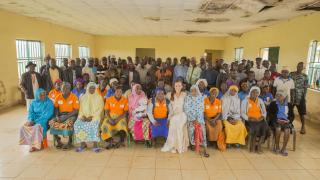 Our Executive Director, Brita Fernandez Schimdt, with women trained as Change Agents in the Bachi Community, Nigeria. Photo: Monilekan