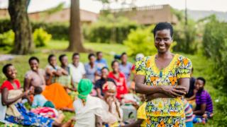 Marrietta,is the president of her savings group created by Women for Women International in Bugesera Rwanda.