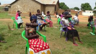 Women in South Sudan practice safe coughing