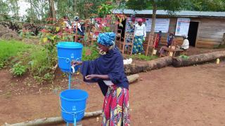 Hand washing station at a Women for Women International-DRC training centre. Credit Women for Women International.