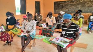 Women for Women International-Nigeria programme participants attend a socially-distanced class. Photo: Women for Women International
