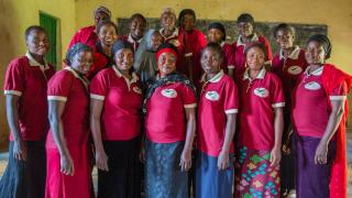 Graduates of the Women for Women International-Nigeria programme who have formed a pre-cooperative group. They carry out trading activities together, and hope to grow their business and travel around the country to trade. Photo: Monilekan