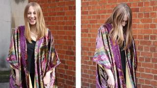 Dani, wearing her Mabrouk multi-coloured hand-made dream robe