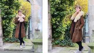 Ida wearing her Cherry London vintage suede coat