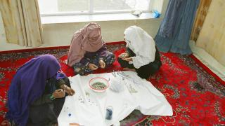 Women for Women International-Afghanistan participants learn jewellery making to earn an income