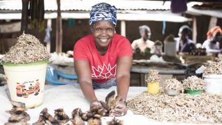 Alice, a programme participant from Yei in South Sudan, sells fish from her market stall. Credit: Charles Atiki Lomodong