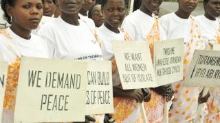 Rwandan women march for peace on International Women