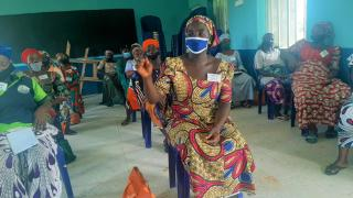 Saratu takes part in a training session with her group. Photo: Women for Women International