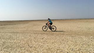WOAM team member crossing the Danakil Depression