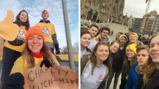 St Andrews' students hitchhiking to Valencia.