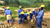 Women for Women International programme graduates at their brick-making cooperative Bumbogo Rwanda