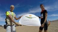 Selina - desert trek with flag