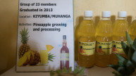 Pineapple juice produced by graduates of the Stronger Women, Stronger Nations programme in Rwanda. Photo Credit:Hazel Thompson