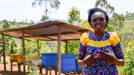 Caritas, a graduate of our programme in Rwanda with her beehives. Photo Credit: Harriet Tolputt