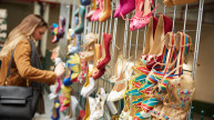 Shoe rack at the #SheInspiresMe Car Boot Sale 2017. Photo credit: Oliver Rudkin