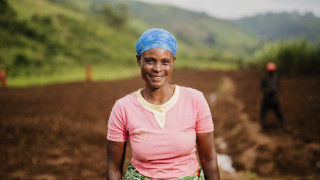 Maria Gurreti Mukapfinsi, a member of the Isangano cooperative in Bumbogo, Rwanda.