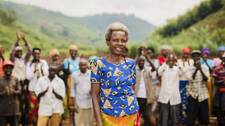 Mary Francoise Mukbawaza, a member of the Isangano cooperative which farms in Bumbogo sector in Rwanda.