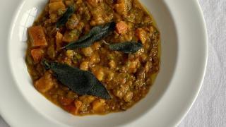 Pumpkin, sage and chestnut soup by Skye Gyngell